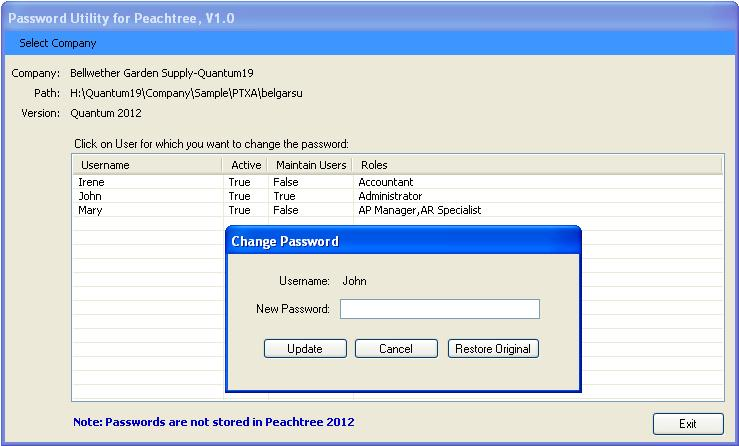 Password Utility for Sage 50/Peachtree